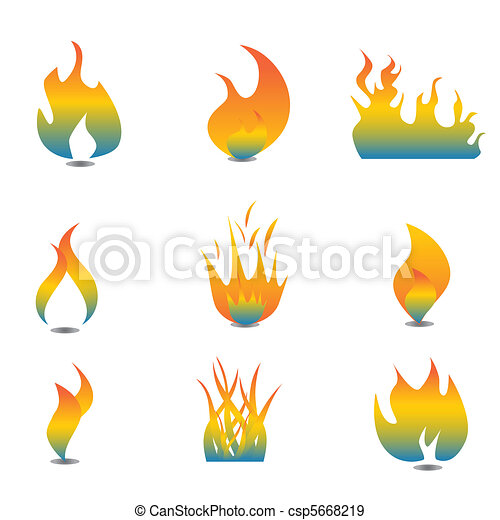 Flame icon set - csp5668219