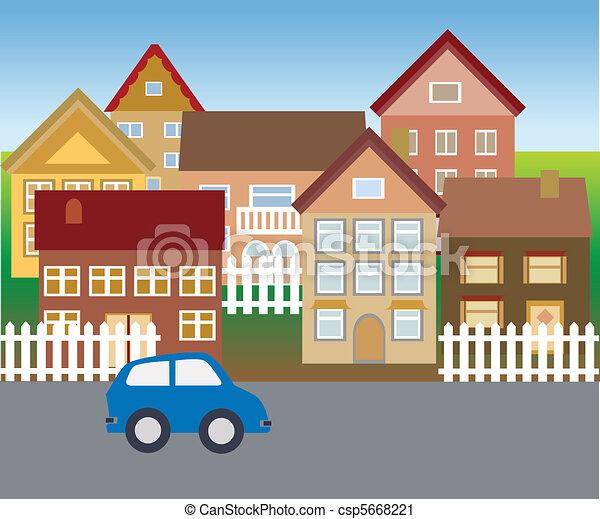 Suburban homes in quiet neighborhood - csp5668221