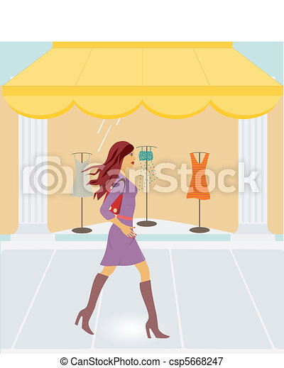 Woman passing by store - csp5668247