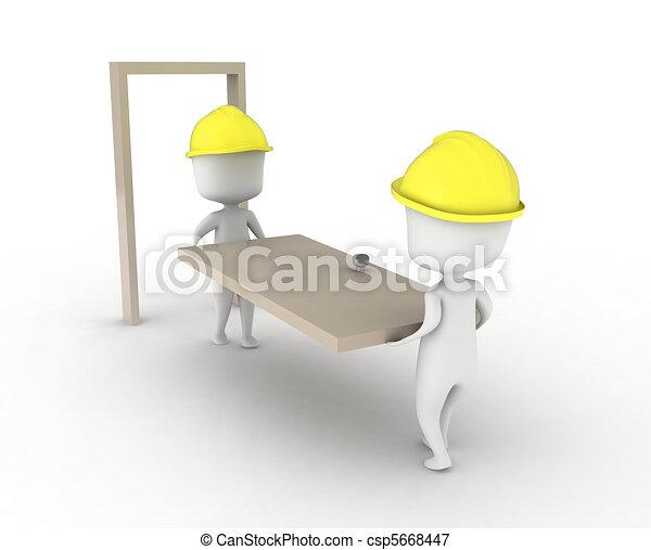 Men Carrying a Door - csp5668447