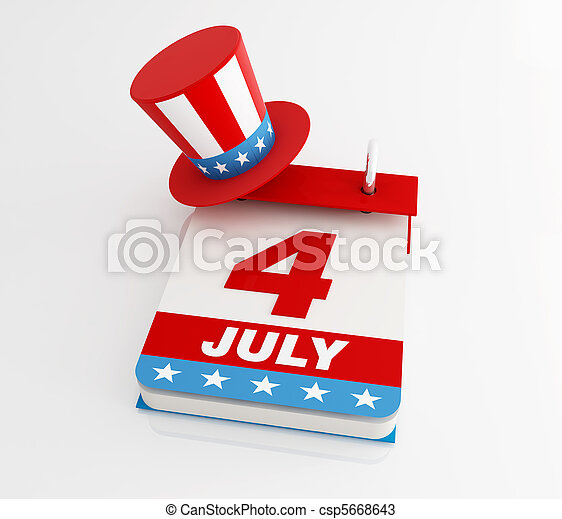 fourth of july calendar  - csp5668643