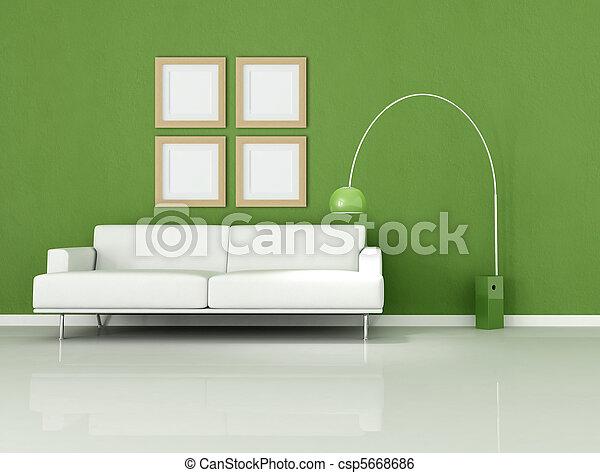 Stock Bild von grün, und, weißes, minimal, Wohnzimmer - weißes ...