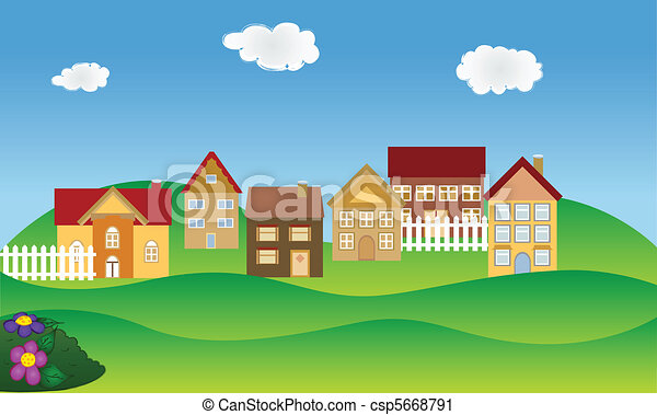Residential neighborhood in spring - csp5668791