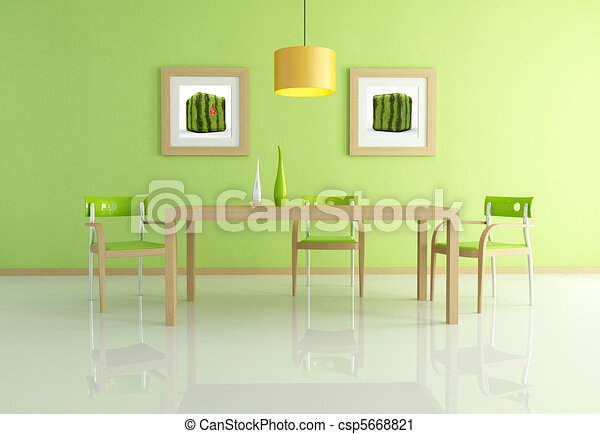 clipart of contemporary green dining room - green modern dining