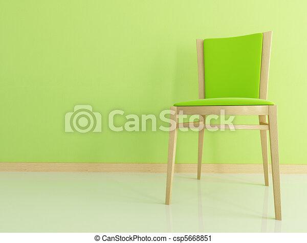green wooden chair - csp5668851