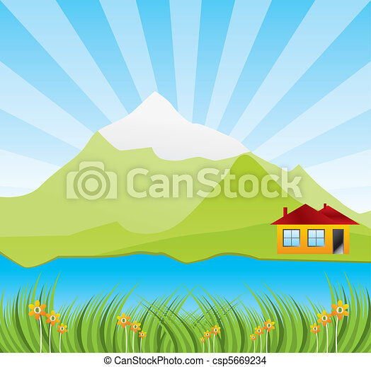Spring sunny landscape with river - csp5669234