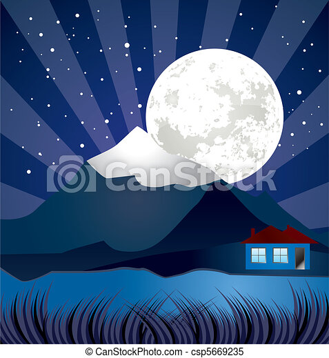 night landscape with river  - csp5669235