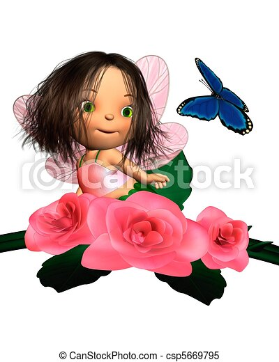 Stock Illustrations of Baby Pink Rose Fairy with Butterfly - Cute ...