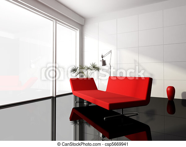 Clipart van minimaal rood witte levend kamer rood moderne sofa csp5669941 zoek - Moderne witte kamer ...