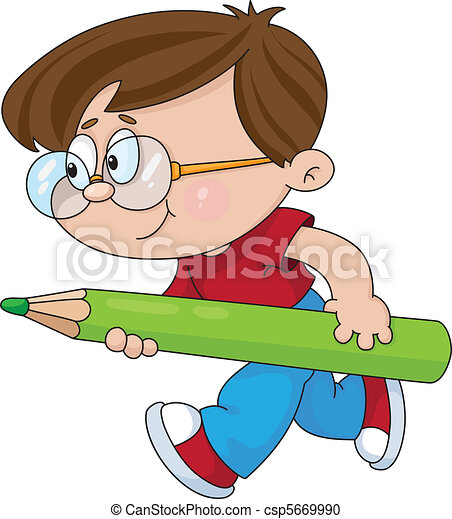 boy with a pencil - csp5669990