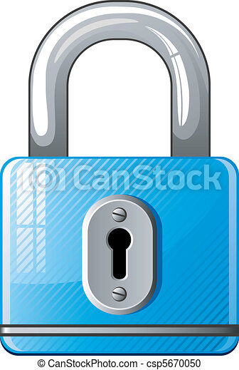 Blue Padlock icon - csp5670050