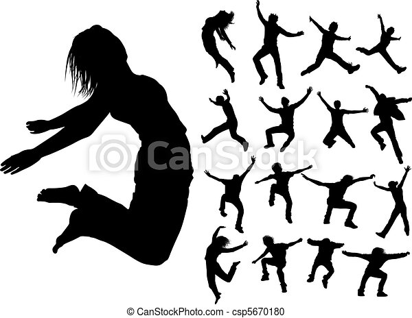 Vector Clipart of Silhouettes of jumping people - Some silhouettes ...