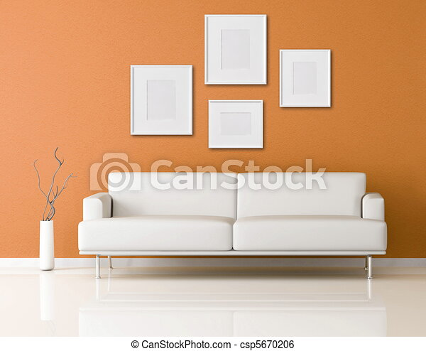 white sofa in a orange living-room - csp5670206