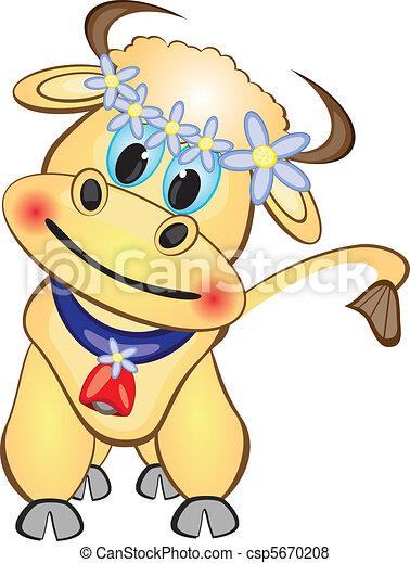 Vecteur veau dessin anim caract re banque d 39 illustrations illustrations libres de droits - Coloriage petit veau ...