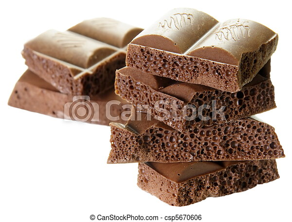 Delicious Porous Chocolate on White - csp5670606