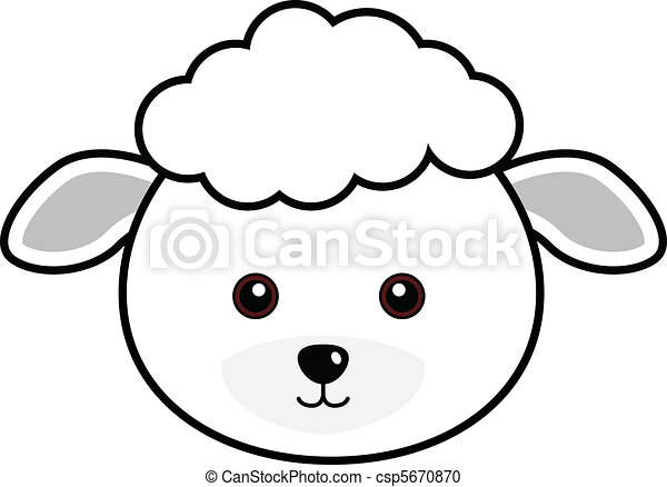 Vector Clipart Of Cute Sheep Vector Cute Animal Faces In
