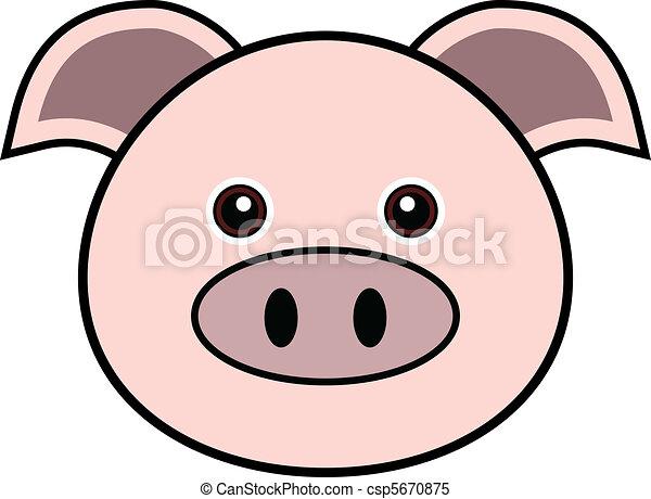 Cute Pig Face Drawing Cute Pig Vector Csp5670875