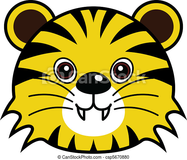 Vector Clipart Of Cute Tiger Vector Cute Animal Faces In