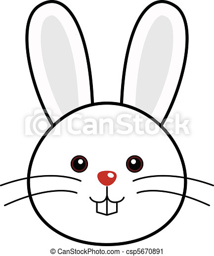 Vector Clip Art of Cute Rabbit Vector - Cute animal faces in (One of 25 of... csp5670891 ...