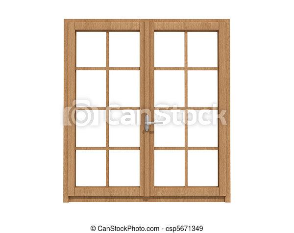 wooden windows - csp5671349