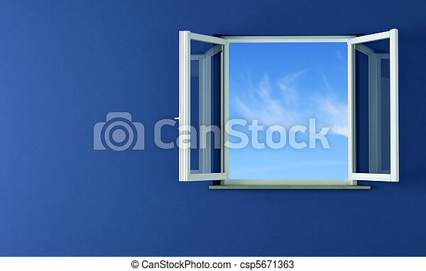 open windows and blue wall - csp5671363