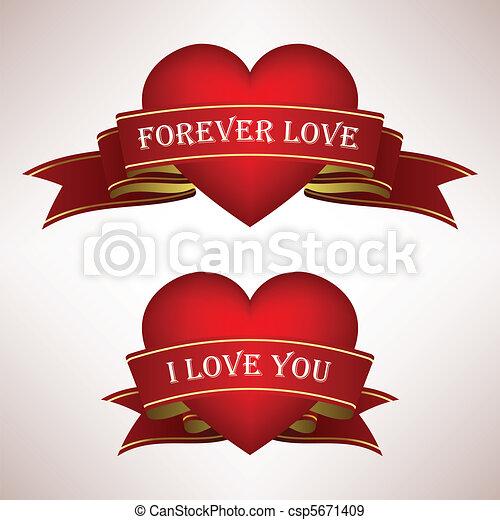 Love Heart Ribbon Scroll - csp5671409