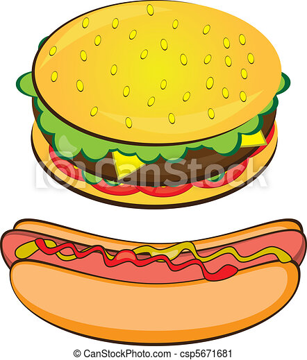 Appetizing Hotdog and Sandwich. - csp5671681