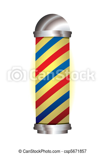 red and blue barbers pole - csp5671857
