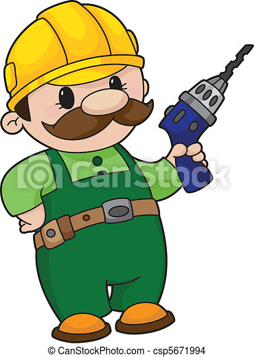 builder with a drill - csp5671994