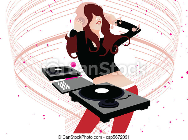 Vector Clip Art of Music DJ - A vector illustration of a music DJ ...