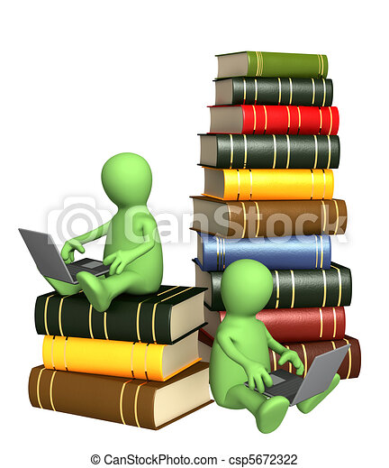 Clip Art of Books online - Library online. Two puppets ...