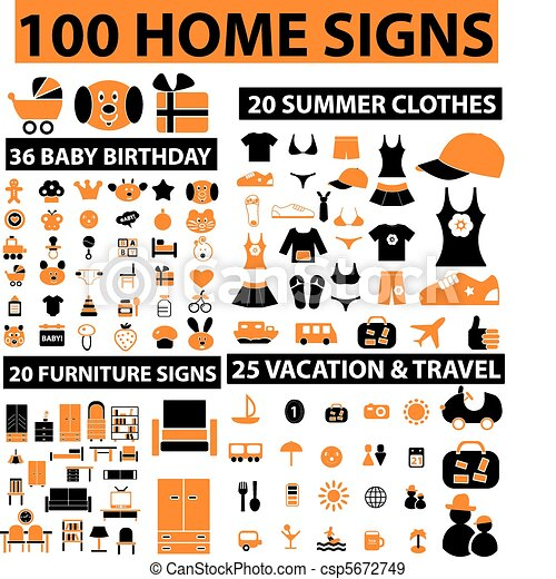 100 home signs - csp5672749