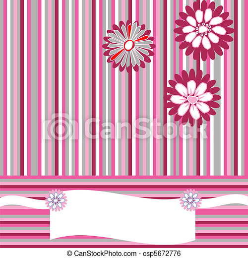Greeting card with stripes, flowers and place for your text - csp5672776