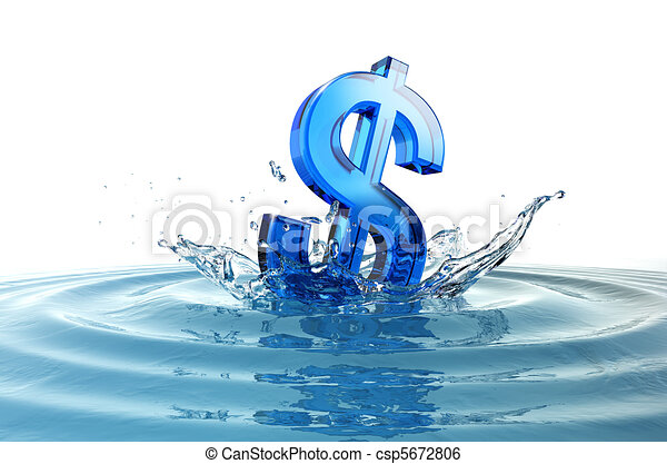 us dollar sign falling into water with splash - csp5672806