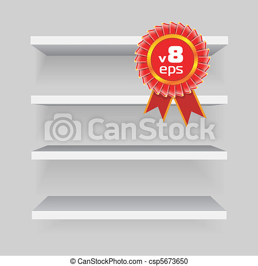 shelves on gray background - csp5673650