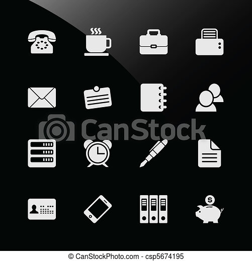 vecteur clipart de bureau travail lieu travail business ic ne a csp5674195. Black Bedroom Furniture Sets. Home Design Ideas