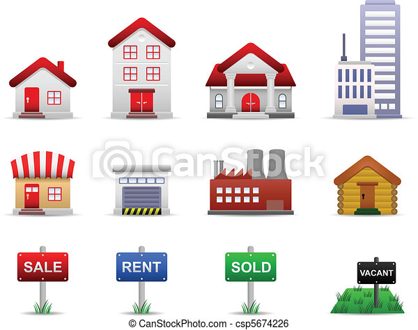 Real Estates Property Icons Vector - csp5674226