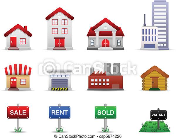 Real Estates Property Icons Vector - csp5674226