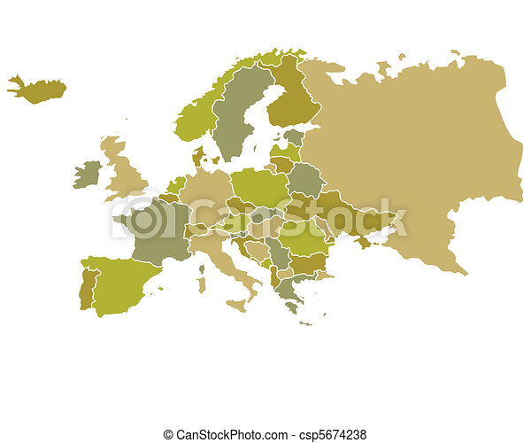 Europe Map with countries outlined - csp5674238