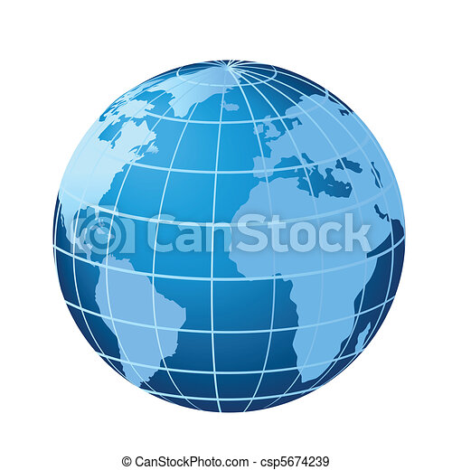Globe showing Americas, Africa and Europe - csp5674239