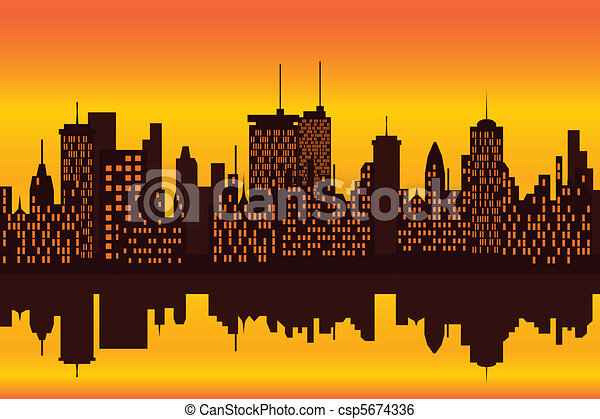 City skyline at sunset or sunrise - csp5674336