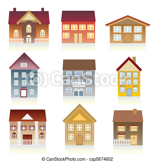 Vector Illustration Of Various Houses Houses With