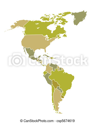 South and North American countries map - csp5674619