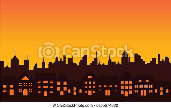 Big city skyline silhouette - csp5674620