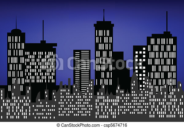 City skyscrapers at night - csp5674716