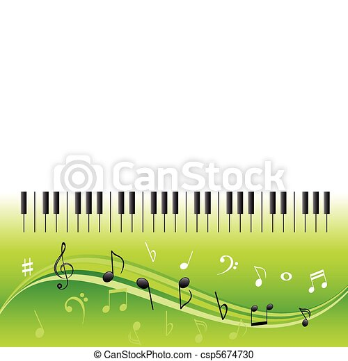 Music notes with piano keys - csp5674730