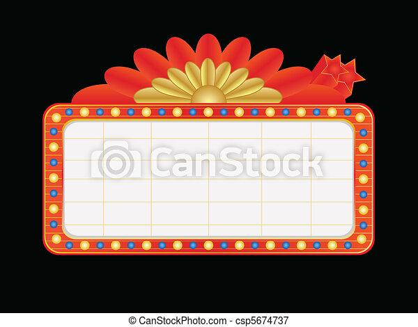 Vegas style blank neon sign - csp5674737