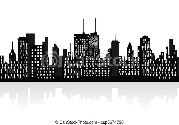 City skyline with skyscrapers - csp5674738