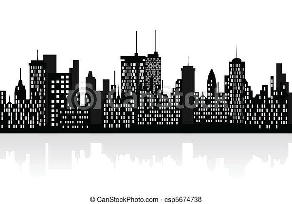 City skyline with skyscrapers - csp5674738