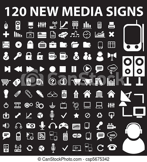 120 new media signs - csp5675342
